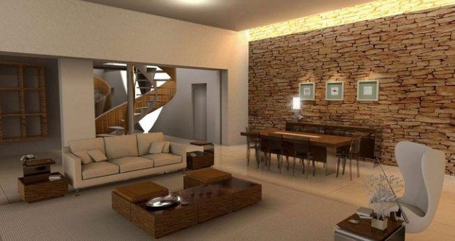 Pared de piedra en sala de estar